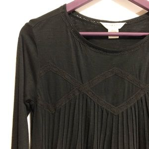 Denim & Supply Lace Crochet Pleated Black Top